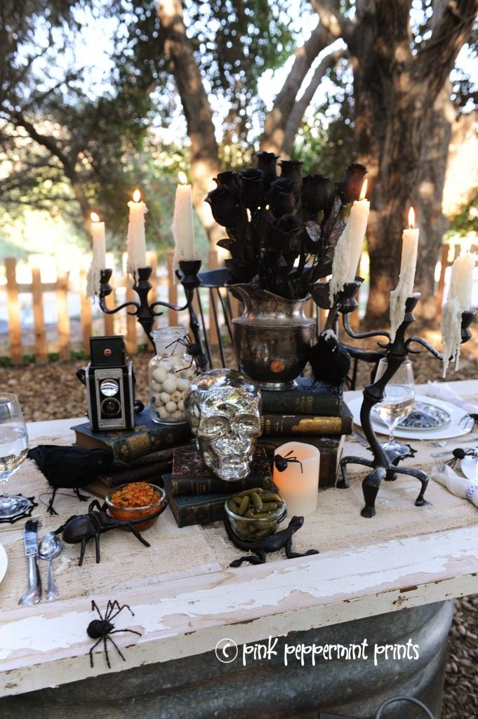 styled shoots pottery barn halloween party bone appetit dinner table set up pink peppermint design - Pottery Barn Halloween Decor
