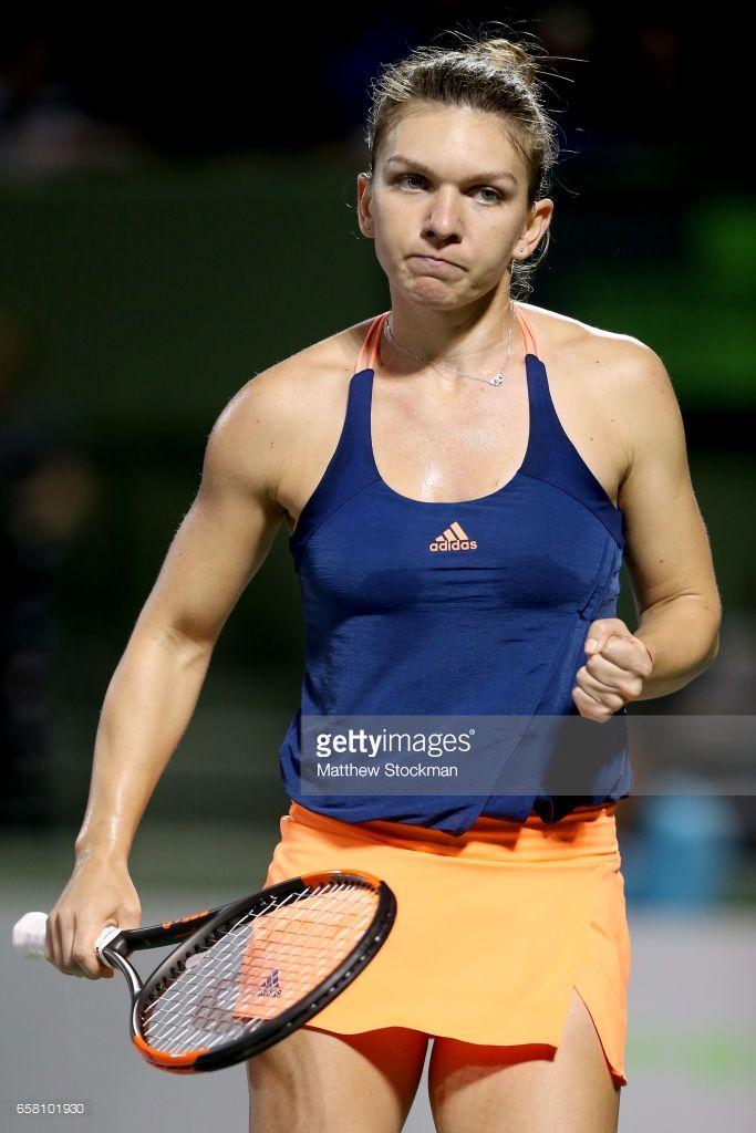 Simona Halep of Romania celebrates a point against Anett Kontaveit of Estonia during the Miami Open at the Crandon Park Tennis Center on March 26, 2017 in Key Biscayne, Florida.