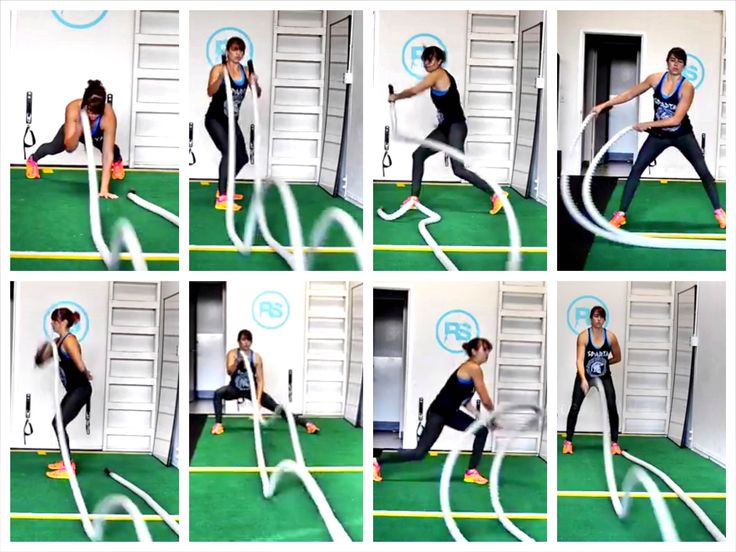 Try these 22 Battling Ropes Exercises and 5 Battling Ropes Workouts.