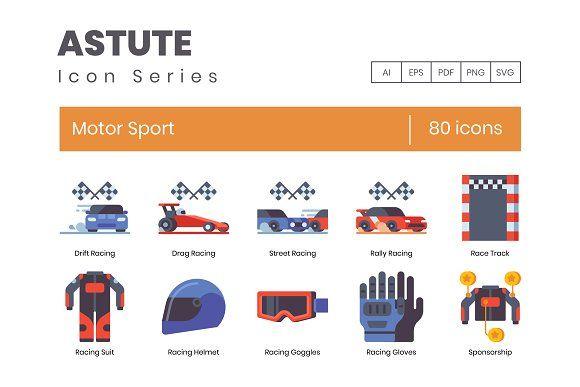 80 Racing Motorsports Flat Icons Racing Motorsport Icon