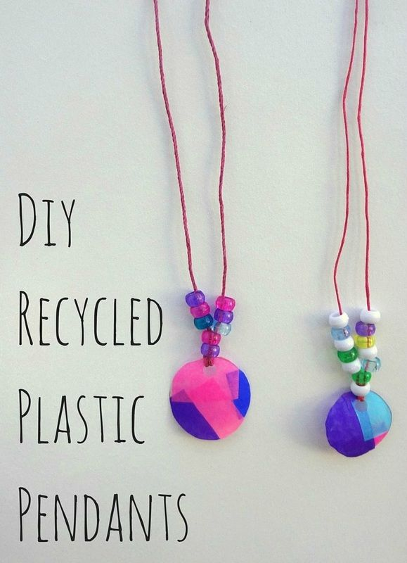 Make a fashion statement with DIY pendants made from recycled plastic bottles. Great craft ...
