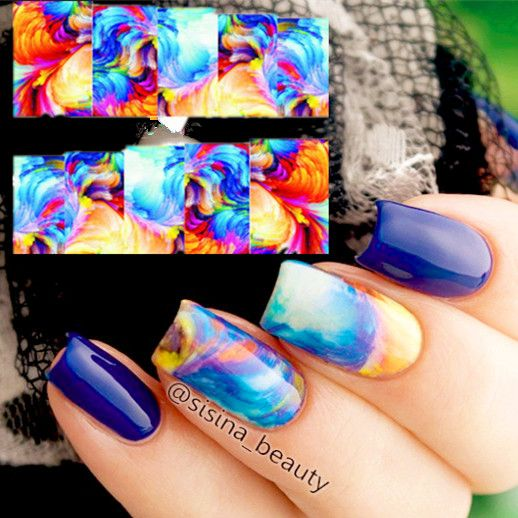 1 sheet Nail Water Decals Oil Painting Style Transfer Sticker Colorful Nail Art Stickers #16262