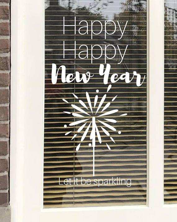 Happy, #happynewyear . Let it be sparkling! Maak deze #DIY #raamdecoratie voor #nieuwjaar met dit direct te downloaden #sjabloon voor een #raamtekening. Te koop in #etsyshop #krijtstifttekening , ontwerp door #cecielmaakt