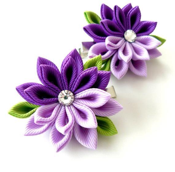 purple hair clips Girls hair clips. Pink Set of 2 hair clips Kanzashi  Fabric Flowers