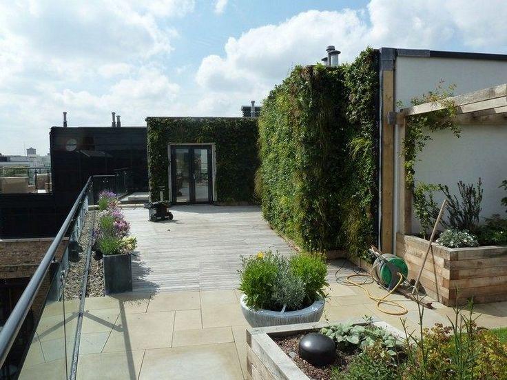 toit-terrasse avec des murs végétalisés en tant que jardins verticaux cool