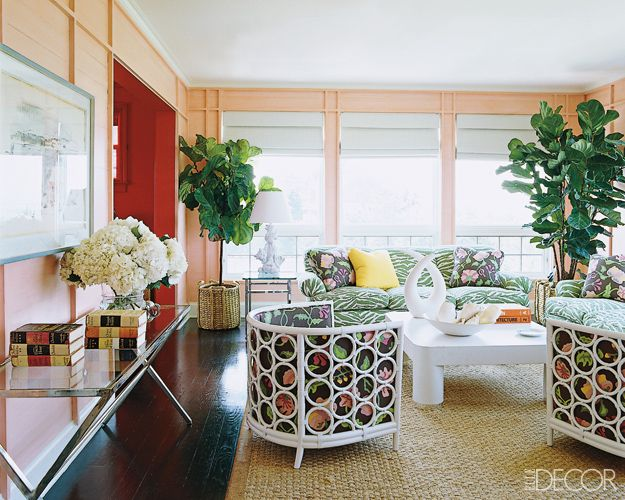 Palm Beach and Zebra print make great friends (from Elle Decor).: Lounges Chairs, Living Rooms, Beaches House, Palms Beaches, Glam Pads, Beaches Chic, Barrels Lounges, Elle Decoration, Blue And White