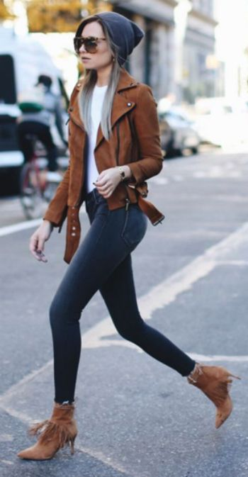 Danielle Bernstein + vision in charcoal + grey and camel. + simple fitted white tee + lavish hue of her jacket.  Winter Style: Jacket: BAGATELLE.CITY