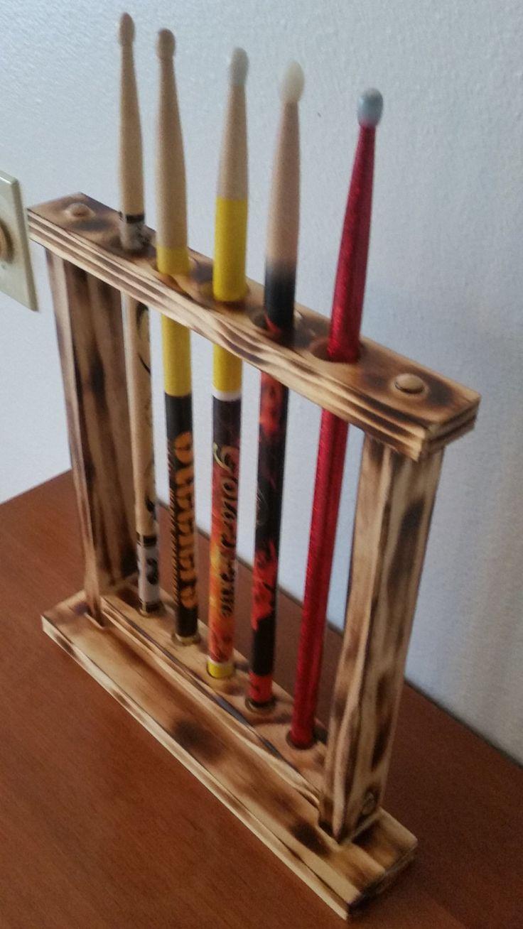 drum stick display drumstick holder holds 18 sticks custom made new solid wood wall mount. Black Bedroom Furniture Sets. Home Design Ideas