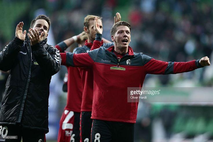 Mike Frantz of Freiburg celebrates after the Bundesliga match between Werder Bremen and SC Freiburg at Weserstadion on October 29, 2016 in Bremen, Germany.