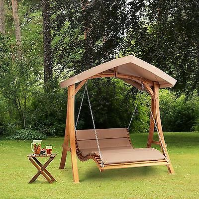 Fabulous Details zu Hollywoodschaukel Sonnenliege Sonnendach Garten Relax Schaukel Holz Polsterung
