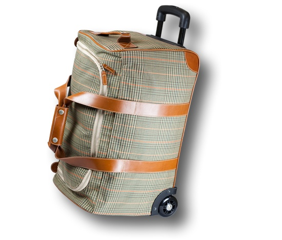 """Barrington's Rolling Duffle Bag is a spacious piece of luggage equipped with premium wheels and an extendable handle to make traveling a breeze. It is adorned in Barrington's Signature Plaid Fabric with various leather trim options, including two side straps and an easy-to-fasten handle, and it is lined with Barrington's soft micro-suede interior fabric. This will quickly become your """"go-to"""" bag for multiple day trips! $625Plaid Fabrics, Interiors Fabrics, Side Straps, Rolls Duffle, Trim Options, Extended Handles, Leather Trim, Duffle Bags, Signature Plaid"""