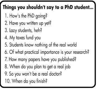 Seriously...don't say these things to a PhD student! :)