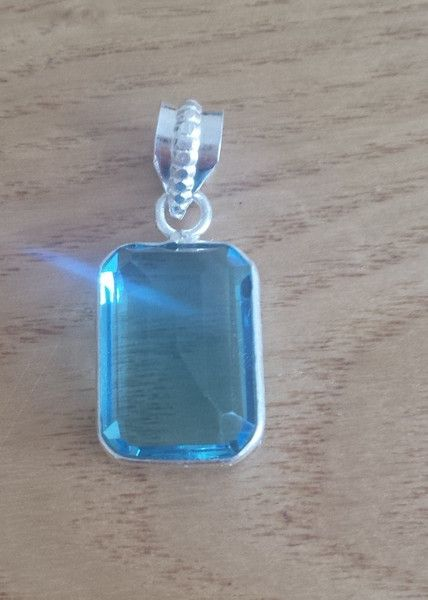 Small Rectangular Faceted Blue Topaz Gemstone Pendant - 925 Silver