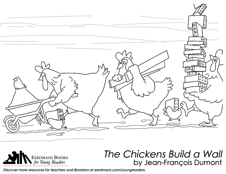 The Chickens Build A Wall Coloring Page Free Printable