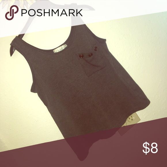 Gray Tank Super cute pocket tank. Has buttons one breast pocket. Brand is Carturi. PINK Victoria's Secret Tops Tank Tops