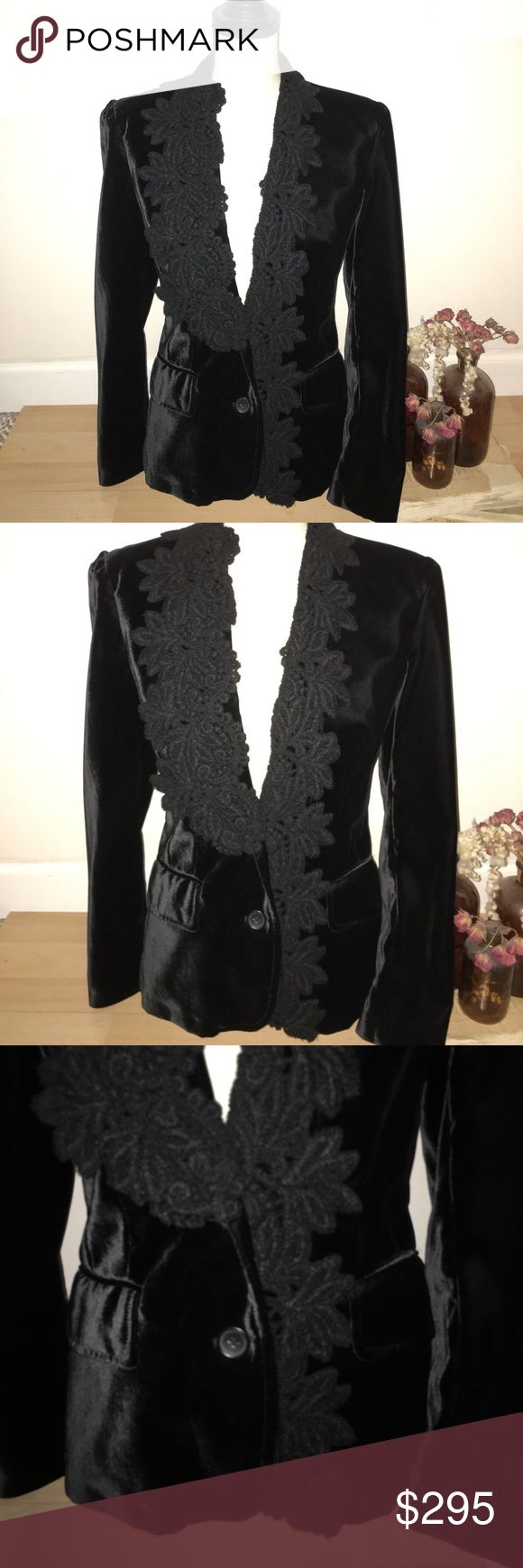 D&G Blazer Authentic and in fantastic condition. D&G black velvet, single breasted, fitted blazer. Has pockets on front and amazing knit design around collar and down the front. This blazer is stunning. D&G Jackets & Coats Blazers