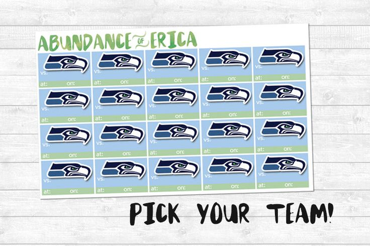 NFL Season Scheduling Stickers (ANY TEAM!) by abundanceoferica on Etsy https://www.etsy.com/listing/247009142/nfl-season-scheduling-stickers-any-team