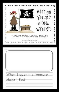 Kindergarten: Pirate Writing Prompts - free