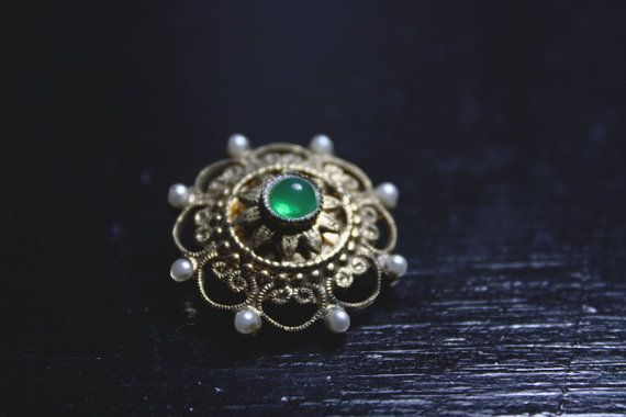 Vintage Wheel Pin with Green Stone and Faux Pearls - Captains Wheel by IntoTheWardrobe, $8.00