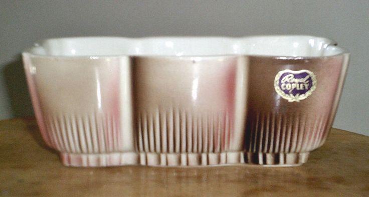 Vintage Royal Copley Pottery Planter Pink Brown Marked Label #RoyalCopley