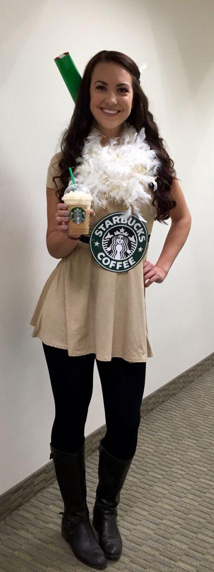 DIY Starbucks Halloween costume - Starbucks even gave me my pumpkin spice frap…