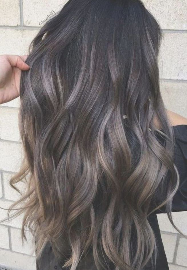 Marvelous Gray To Brown Hair Color On Long Wavy Hair Hair Highlights Balayage Hair Ombre Hair Color