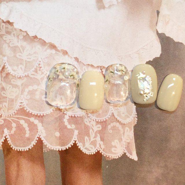Bridal Collection 4/1〜6/30 #ブライダル #パーティー #デート #ハンド #ワンカラー #フラワー #ドライフラワー #ショート #クリア #ホワイト #ジェルネイル #ネイルチップ #ローラポンポニー表参道 #ネイルブック