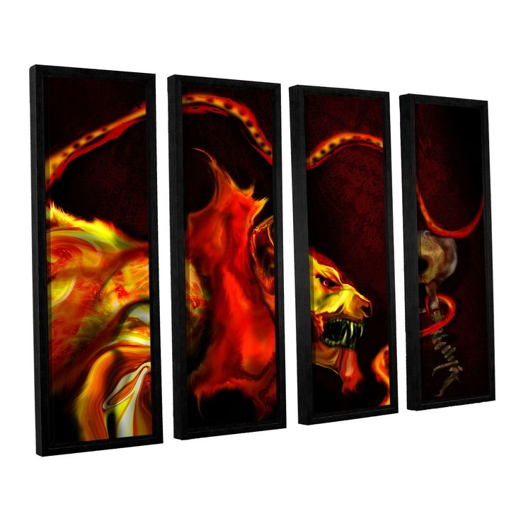 Shadow Of The Beast by Michael L Stewart 4 Piece Floater Framed Canvas Set