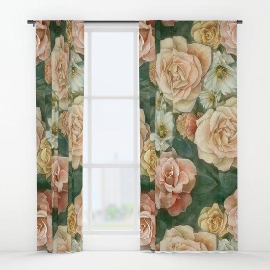 Floral rose pattern Window Curtains    art by strijkdeisgn