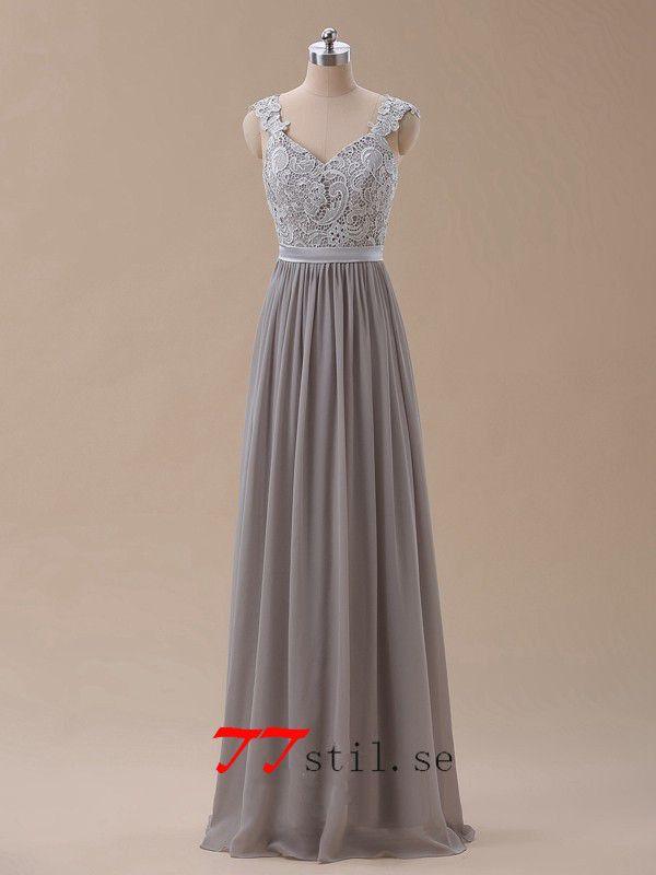 Grå lång balklänning brudtärna klänning med spetsar appliques holkärm