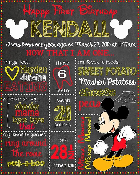 "Custom MICKEY MOUSE Chalkboard Design 16"" x 20"" Poster Design - Baby's First Birthday on Etsy, $20.00"