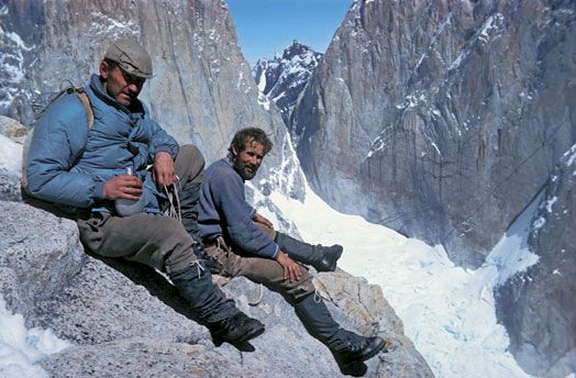 Don Whillans and Chris Bonington in Patagonia, South America.