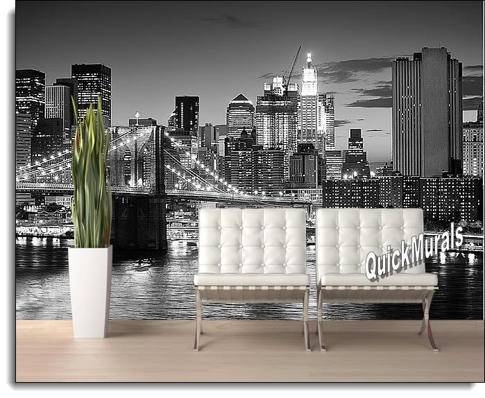 Brooklyn Bridge Black And White Peel And Stick Self Adhesive Wall Mural Part 91