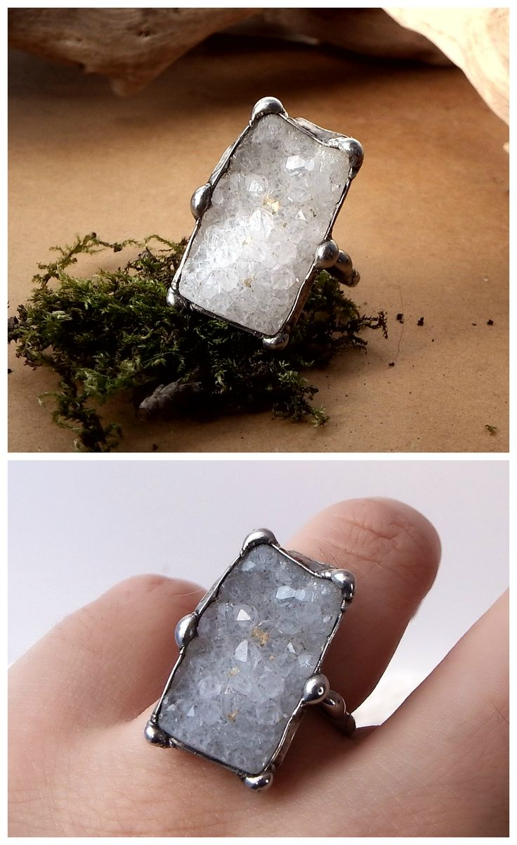 Ice ring by Alice Savage. Handmade with sparkly agate druzy, adjustable size, artisan, boho chic