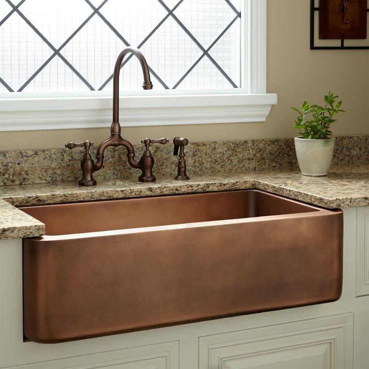 "35"" Amelie Copper Farmhouse Sink - Farmhouse Sinks - Kitchen Sinks - Kitchen"
