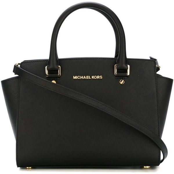 Michael Michael Kors Selma Bag ($305) ❤ liked on Polyvore featuring bags, handbags, tote bags, black, handbags totes, saffiano leather tote, michael michael kors, tote purses and michael michael kors purse