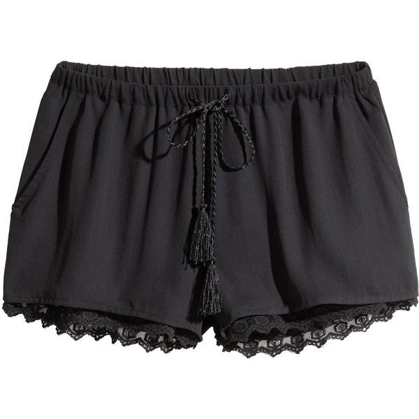 H&M Shorts with a lace trim (£15) ❤ liked on Polyvore featuring shorts, bottoms, black, pants, micro shorts, hot short shorts, mini shorts, hot pants and h&m