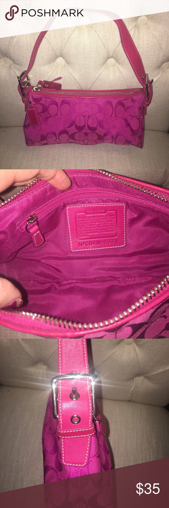Hot Pink Coach Purse Adorable HOT Pink small Coach shoulder purse! Gently used and still in great condition. Adjustable straps on each side of purse with silver buckles. Small zipper pocket on inside of purse. No scratches on buckles or leather strap. The perfect color for the upcoming Spring and a Summer seasons! Coach Bags Mini Bags