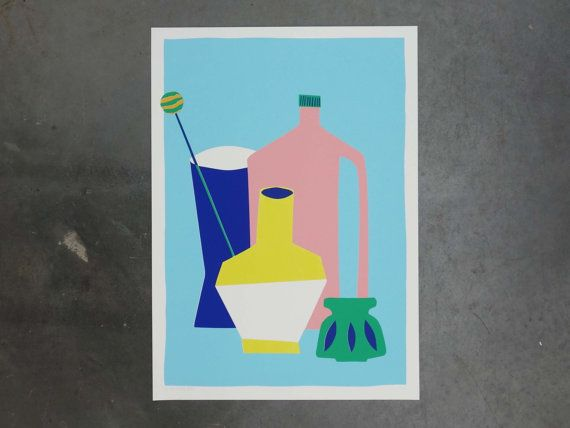 Colorful screenprint of a stil life including a pink bottle