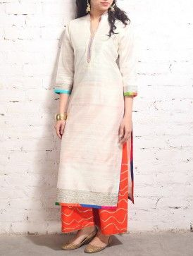 White Gota Work Raw-Silk Tunic