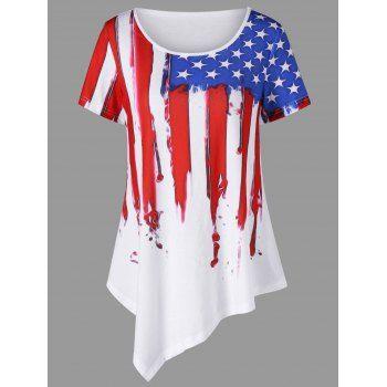 American Flag Painted Asymmetric T-Shirt