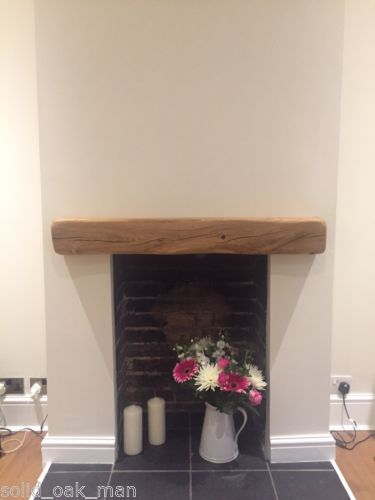 Very pretty but illegal to install like this in the UK, as wood immediately above a fireplace is - suprise! a fire risk! Solid-Oak-Beam-Floating-Shelf-Mantle-Piece-Fire-Place-Surround-various-sizes.