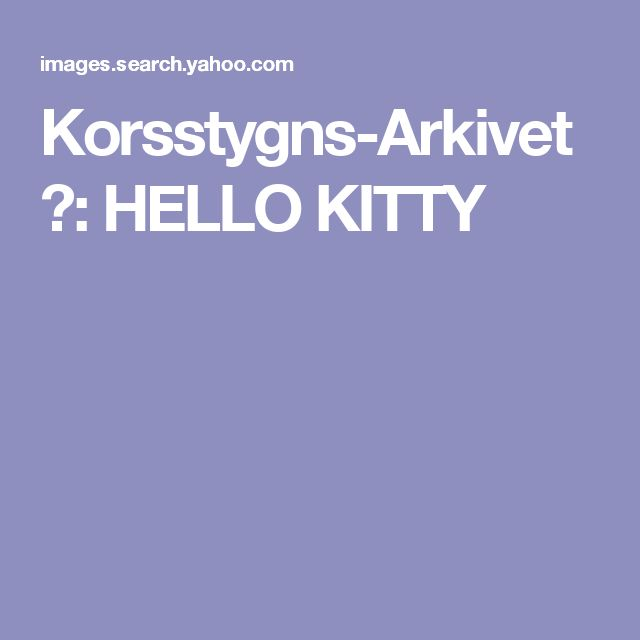 Korsstygns-Arkivet ♥: HELLO KITTY
