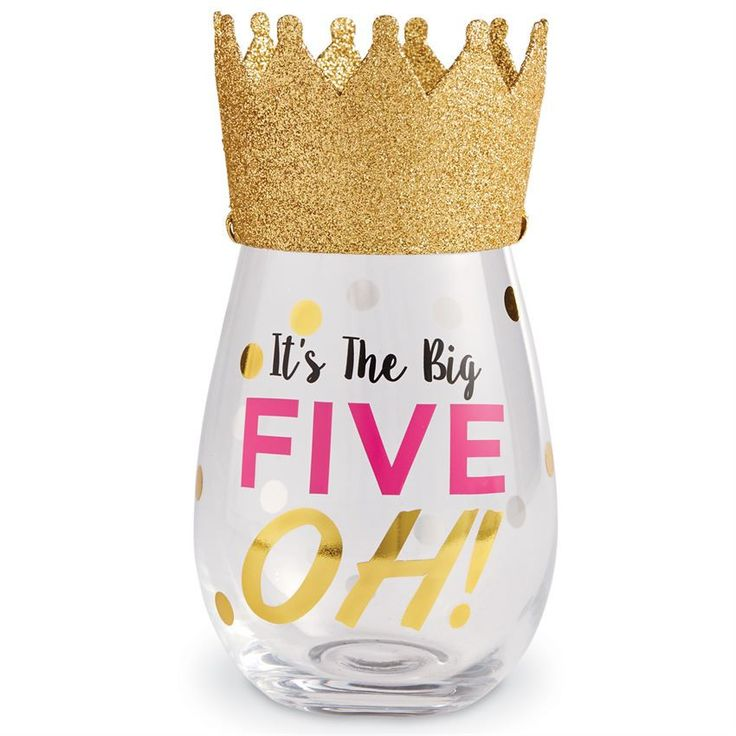 """This 2-piece set includes a stemless wine glass with a festive wearable birthday hat. The glass features gold foil embellished """"It's The Big FIVE OH!"""" message. Celebrate turning 50 in style. From Mud"""