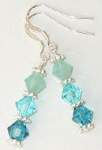 Swarovski Crystal Ocean Blues, Aquamarine and Tiffany Blue Beaded Earrings. $10