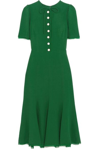 Dolce & Gabbana   Forest-green crepe and georgette Button fastenings along front, concealed hook and zip fastening at side  48% viscose, 44% acetate, 5% silk, 3% elastane; lining: 76% silk, 16% cotton, 4% elastane, 4% polyamide  Dry clean  Made in Italy