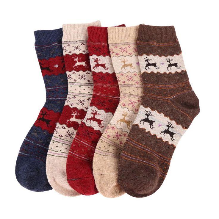 nuevo regalo de navidad ciervos copo de nieve de las mujeres de lana calcetines calientes del