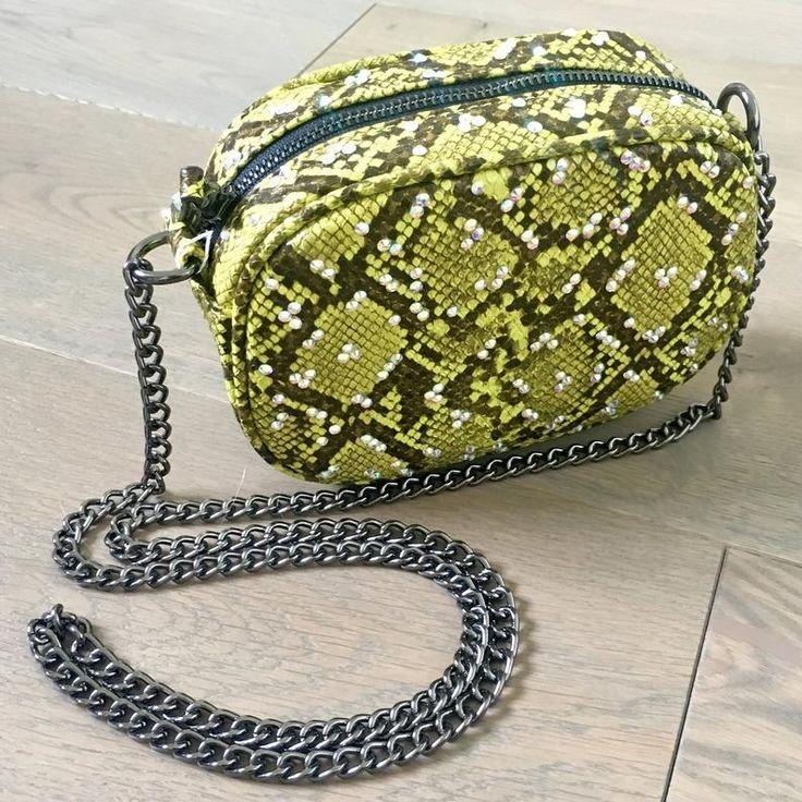 Embellished Bright Green Faux Snake Skin Cross Body Shoulder Bag