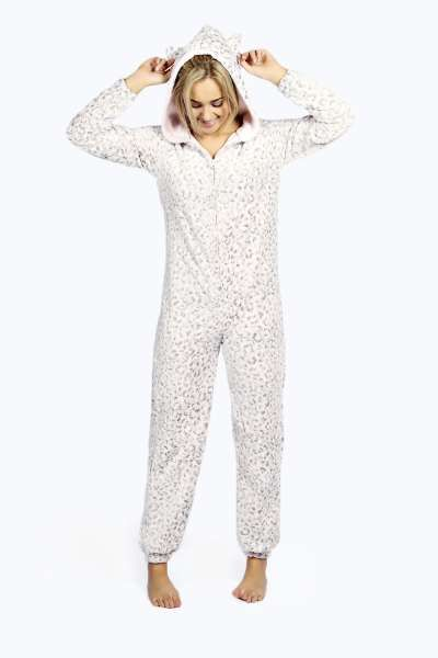 Katlyn Luxe Ear Hood Fleece Lined Animal Onesie at boohoo.com