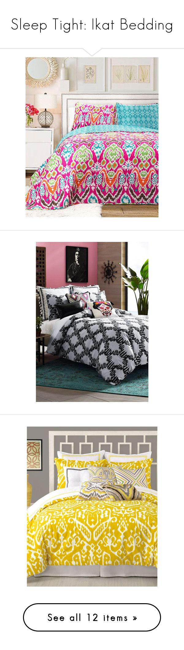 """""""Sleep Tight: Ikat Bedding"""" by polyvore-editorial ❤ liked on Polyvore featuring ikatbedding, home, bed & bath, bedding, quilts, fuchsia bedding, fuschia bedding, 3 piece quilt set, ikat bedding and lush decor bedding"""